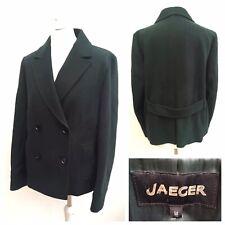 Jaeger Ladies Dark Green Wool Coat Blazer Jacket Buttons Pockets Winter Size 14