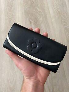 MARY QUANT LONDON Black Leather Vintage Flap Bifold Zip Long Wallet Purse