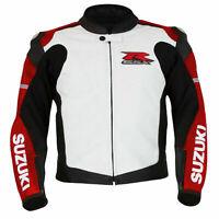 GSXR Suzuki Motorcycle Leather Racing Jackets Motorbike Sports Protective Zip Up