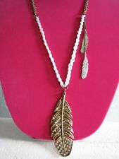 BETSEY JOHNSON VINTAGE INDIAN SUMMER LARGE CRYSTAL FEATHER BEADED NECKLACE~RARE