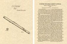 1. Flute Us Patent 1849 Kunstdruck Fertig zu Rahmen Klassischer Woodwind