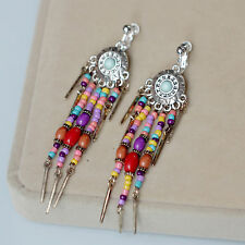 Earrings CLIP ON Silver Dangle Tassel Multicolored Ethnic Beads Red Blue C1
