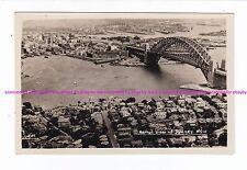 AERIAL view SYDNEY HARBOUR BRIDGE  Kirribilli  Circ. Quay VINTAGE RPPC Australia