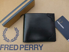 FRED PERRY Card Wallet Men's Black BROQUE Detail Bifold Leather Wallets Box New