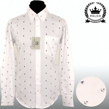 Relco Para Hombre Blanco Barco Ancla Camisa manga larga mod marinero Platinum Collection
