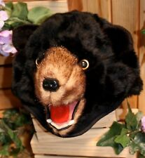 Black bear hat cap realistic pretend hair adjusts to fit anyone scary wonderful!