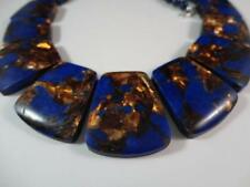 GENUINE LAPIS LAZULI WITH GOLD PYRITE BEADS STERLING SILVER NECKLACE BY ASINGH
