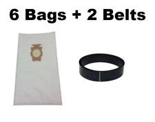 (6) F Style Cloth Hepa Vacuum Bags for Kirby Sentria I & II G10D + (2) Belts