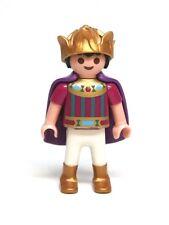 Playmobil Figure Princess Castle Boy Child Prince w/ Gold Crown Purple Cape 4137