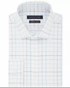 Tommy Hilfiger Mens Dress Shirt Blue White Size 17 1/2 Grid Printed $79 #274