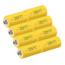 8pcs Anmas Power Sub C SC 1.2V 3000mAh Ni-Md NiMd Rechargeable Batteries ,Yellow