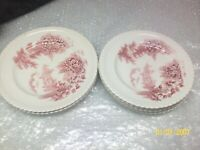 "Johnson Bros Red Pink ""Castle on the Lake""  (4) Bread-Desert & (3) Salad Plates"