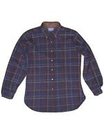 Vintage Mens Pendleton Medium Brown Plaid 100% Wool L/S Button Front Shirt