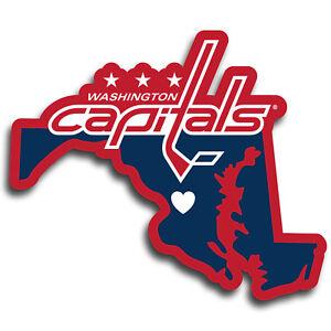 Washington Capitals Home State Vinyl Auto Decal (NHL) Maryland Shape