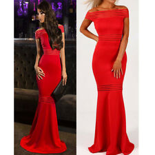 NEW Ladies Mesh Insert Fishtail Off Shoulder Bardot Evening Party Maxi Dress