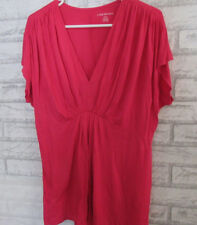 NWT Lane Bryant Hot PINK  Rayon/Spandex Elastic at Waist Gathers at Shoulders