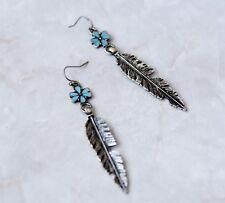 Retro silver turquoise flora leaf feather earrings drop hook dangle jewellery