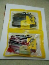 """NOS (2 LOT) STORM RATTLE TUBE CAMOUFLAGE/RED SHAD (4"""" 20 pieces) INCLUDES HOOKS"""