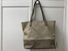 David Jones Paris Beige Handbag Large Shoulder Purse