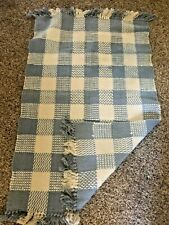 Vtg Dusty Blue White RAG RUG Scatter Cotton Fringed PLAID CHECK Farmhouse 26X48""