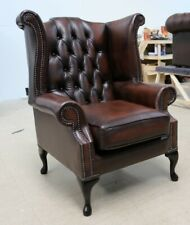 GEORGIAN CHESTERFIELD QUEEN ANNE HIGH BACK WING CHAIR VINTAGE BROWN LEATHER