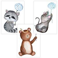 3er Set Wandbilder Baby Kinderzimmer Poster A4 W07 Pusteblume Waschbär Bär Maus