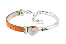 Women's Bracelet Guess Crystal Heart Steel Orange Leather Gift Box