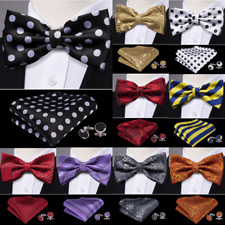 USA New Mens Pre-tied Bow tie BowTie Set Silk Black Red Blue Gold Father's Day