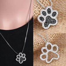 Fashion Footprint Pendant Silver Mom Necklace Dog Paw Crystal Rhinestone Gifts