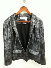 Women's Alfred Dunner Black Wool Button Jacket Size 14 Very Good Condition