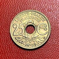 #3832 - RARE -  25 centimes 1939 Lindauer SPL/FDC sortie de rouleau - FACTURE