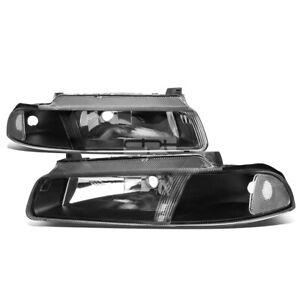 For 1995-2000 Dodge Stratus Pair OE Style Black Housing Headlight Headlamps Kit