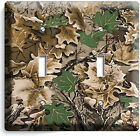 OAK TREE MOSSY CAMO CAMOUFLAGE DOUBLE LIGHT SWITCH WALL PLATE WOODS CABIN DECOR