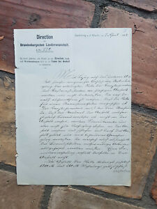 Schreiben Director Landirrenanstalt Landsberg a.d.Warthe1888 Gorzów Wielkopolski