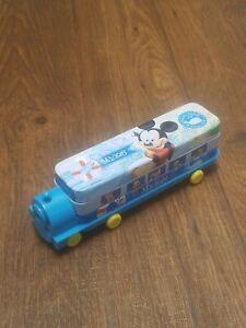 ULO Disney Train Tin Pencil Case Mickey Mouse School Blue 2 Slots & Sharpener