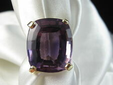 14K Amethyst Ring 23.48ct Yellow Gold Estate Fine Jewelry Purple Oval Size 6