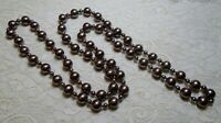 """VINTAGE TAUPE COLOR HEAVY GLASS FAUX PEARL BEADED LONG STATEMENT NECKLACE 48"""""""