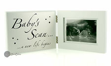 "Juliana Baby White & Silver Baby's Scan Photo Frame 5""x3"" 13cm x 9cm FW397"