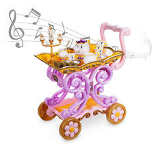 """NIB DISNEY STORE BEAUTY AND THE BEAST """"BE OUR GUEST"""" SINGING TEA CART PLAY SET"""