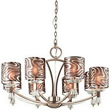 Antique Brass 8 Light Chandelier With Crystal Accents And Shades