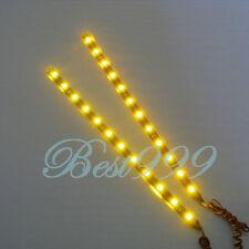 "2x Amber/Yellow 12 LEDs 30cm/11.8"" 5050 SMD LED Strip Light Waterproof 12V DIY"