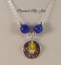 """New BLUE & YELLOW RIBBON Awareness .925 Silver Necklace w/ Hope Pendant 16.25"""""""