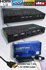 1in:4out HDMI Distribution Amplifier Amp Splitter Multiplier 3D 1080p