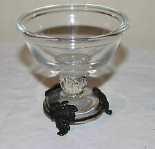 VINTAGE GLASS METAL FOOTED CANDY DISH, SHERBERT, DESSERT BOWL w/ GRAPES