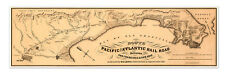 MAP of Pacific & Atlantic Rail Road between San Francisco & San Jose circa 1851