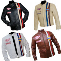 Steve McQueen Driver Gulf Tag Heuer Leather Jacket Slim Fit Cafe Racer Upper