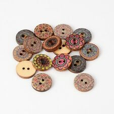 100PCS 2-Hole Wooden Sewing Buttons Flat Round Floral Pattern Mixed Color 15x3mm