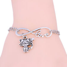 New Fashion Wome's Infinity Silver Cute Cat Bangle Pendant Bracelet Chain Charm