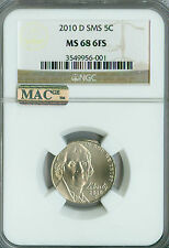 2010-D JEFFERSON NICKEL NGC MAC MS68 6FS SMS PQ 2ND FINEST GRADE SPOTLESS .