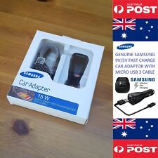 Genuine Retail Samsung Car Adaptor Fast Charger With Micro Usb3.0 Cable 9v / 2a